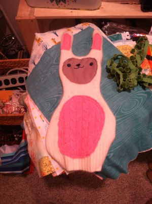 Un-stuffed, upcycled, cashmere Mr. Hops!